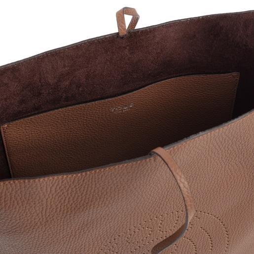Große Schultertasche Leissa aus braunem Leder