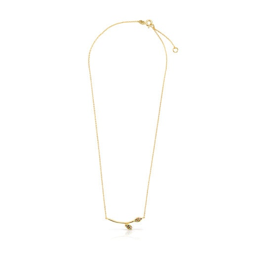 Vermeil Silver with Gemstones Real Mix Leaf Necklace