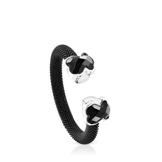 Black IP Steel Mesh Color open Ring with Onyx