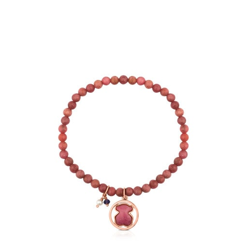 Bracelet Camille en Argent vermeil rose avec Rhodonite, Iolite et Perle