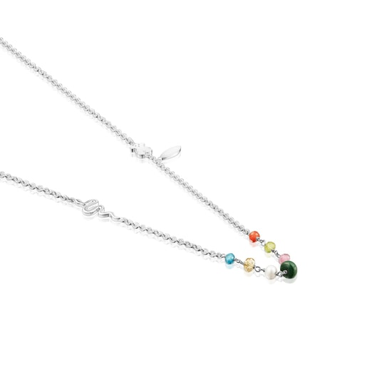 Long Silver Fragile Nature Necklace with Gemstones