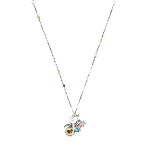 Oxidized Silver La XIII Necklace with Mother-of-pearl and Gemstones