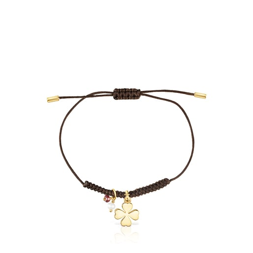 Bracelet TOUS Good Vibes trèfle en Argent Vermeil, Pierres précieuses et Cordon marron
