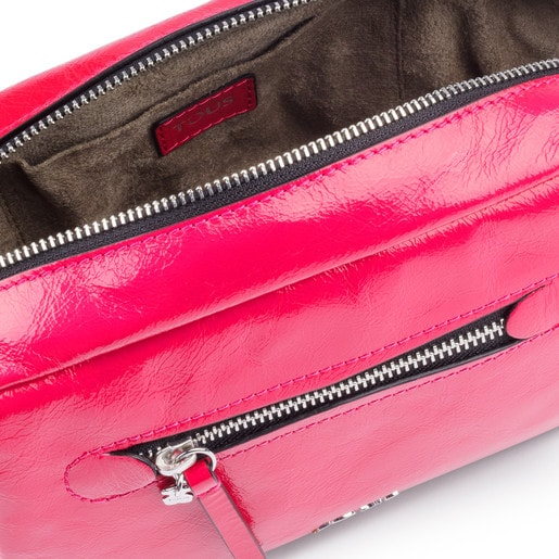 Small fuchsia Leather Tulia Crack Crossbody bag