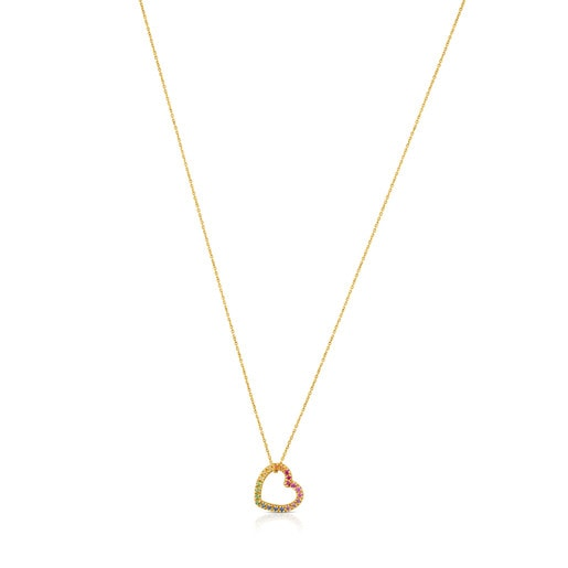 Gold Icon Necklace with multicolor Gemstones little Heart motif