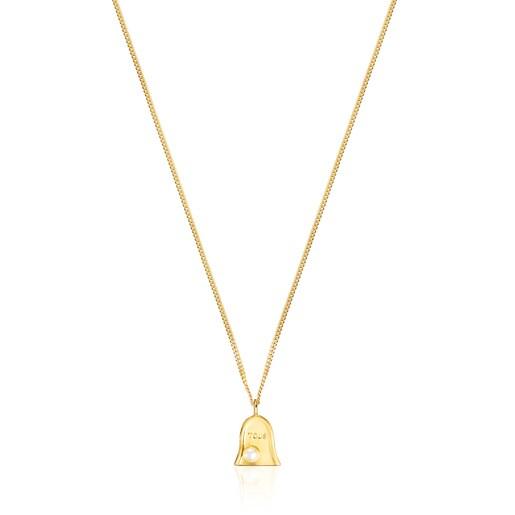Halskette Job aus Vermeil-Silber mit Perle