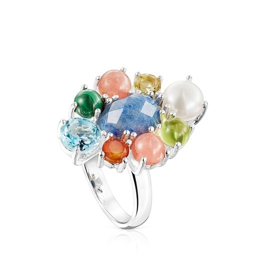 Silver Fragile Nature rosette Ring with Gemstones
