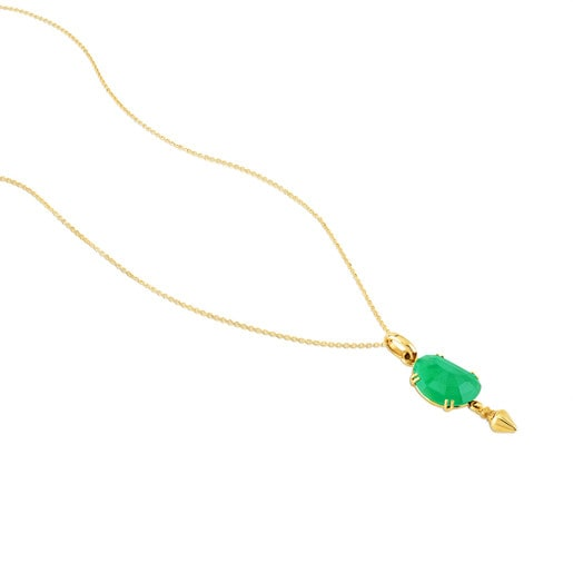 Gold Beethoven Necklace and Chrysoprase