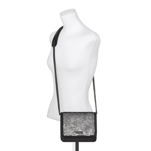 Ruby Crossbody bag with black/silver-colored sequins