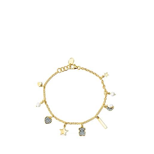 Pulsera Nocturne de Plata Vermeil, Diamantes y Perlas