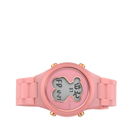 Polycarbonate D-Bear Watch with coral colored silicone strap