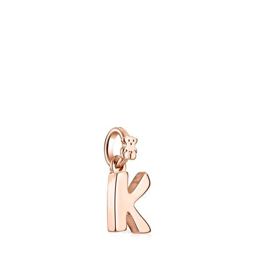 Pingente Alphabet letra K em Prata Vermeil rosa