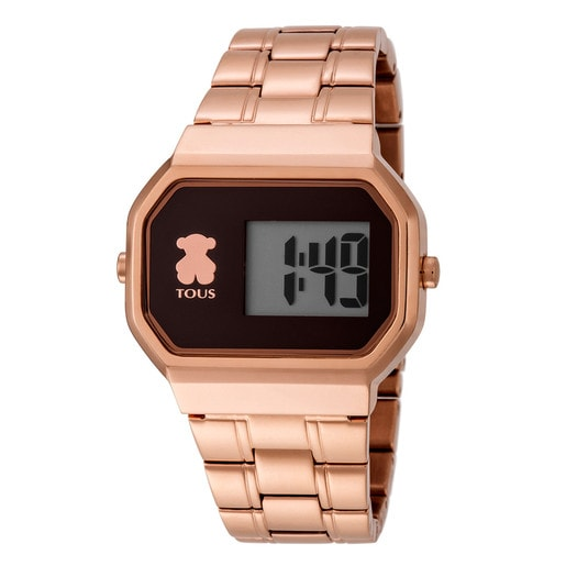 Pink IP Steel D-Bear Digital Watch