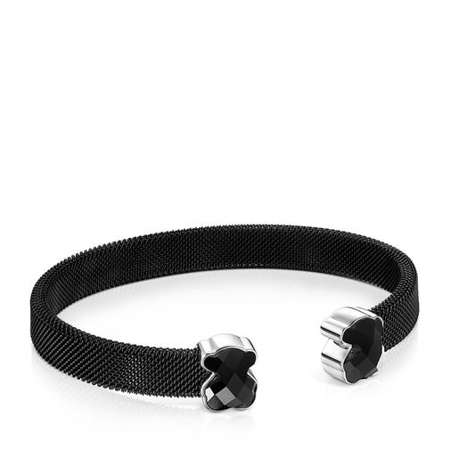 Armband Mesh Color aus IP-Stahl in Schwarz mit Onyx
