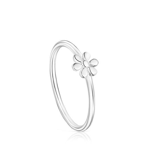 Anillo Fragile Nature flor de plata