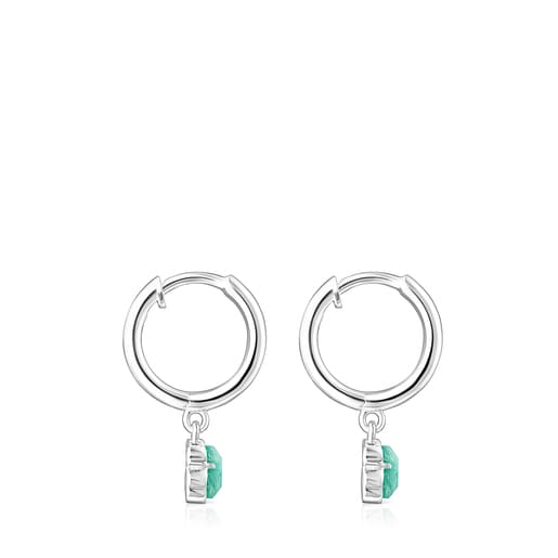 Silver and Amazonite Cool Color Earrings