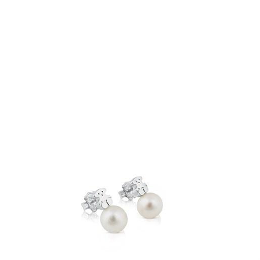 Pendientes TOUS Sweet Dolls de plata y perlas motivo oso