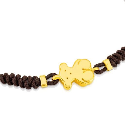 Pulsera de oro y cordón marrón Sweet Dolls
