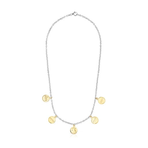 Two-toned Steel TOUS Good Vibes medallion Necklace