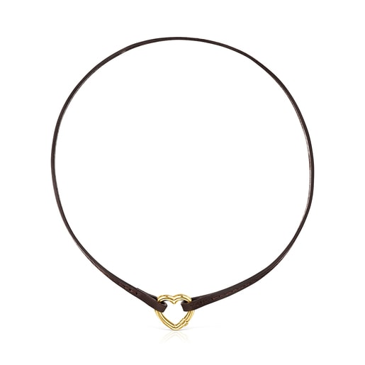 Hold Bracelet - Necklace in Vermeil and brown Leather
