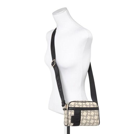 Small beige-black Tous Logogram crossbody bag