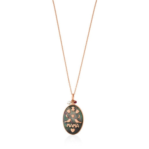 Rose Vermeil Silver Mama Power Necklace with Gemstones and black Cord