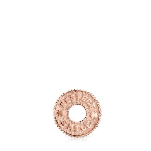 Colgante Medallions Respect & Smile disco de Plata Vermeil rosa