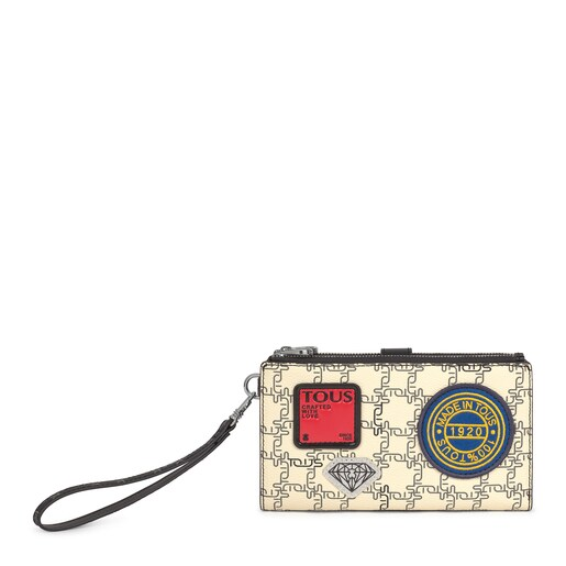 Black and beige TOUS Logogram Patch Wallet-clutch