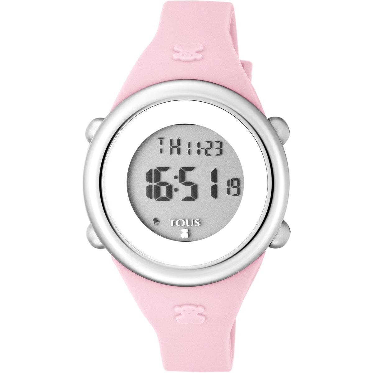 Relógio Soft Digital em Aço com correia de Silicone rosa