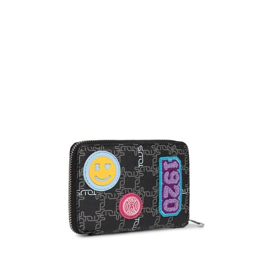 Μικρό μπεζ και μαύρο Πορτοφόλι TOUS Logogram Patch