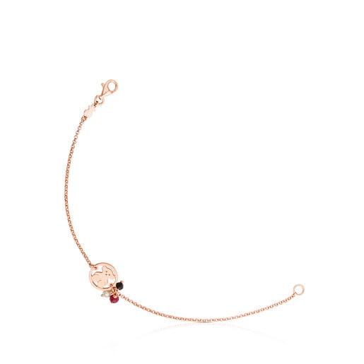 Pulsera Camille de Plata Vermeil rosa con Ónix, Rubí y Perla
