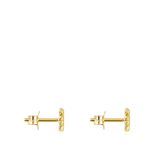Gold TOUS Good Vibes clover Earrings with Diamonds
