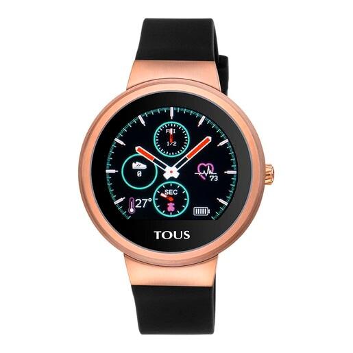 Reloj activity Rond Touch de acero IP rosado con correa de silicona intercambiable