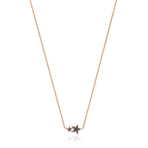 Colar Teddy Bear Stars em Prata vermeil rosa, Espinélio e Rubi