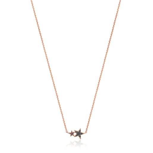Rose Silver Vermeil Teddy Bear Stars Necklace with Spinel and Ruby