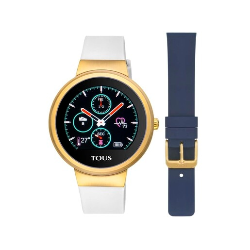 Reloj activity Rond Touch de acero IP dorado con correa de silicona intercambiable