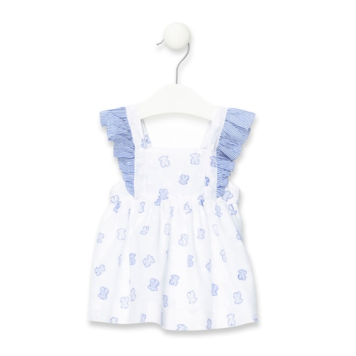 Vestido de alças com folhos de plumeti Jean Azul
