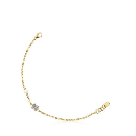Pulsera Nocturne oso de Plata Vermeil, Diamantes y Perla
