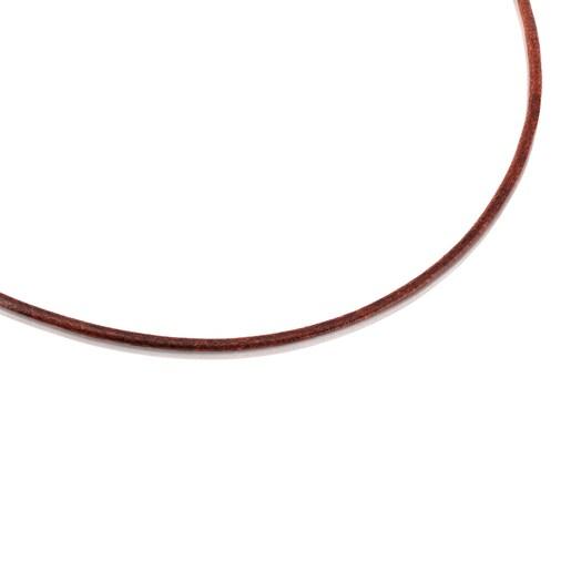 Gargantilha TOUS Chokers em Couro de 2 mm castanho com fecho em Prata, 40cm.