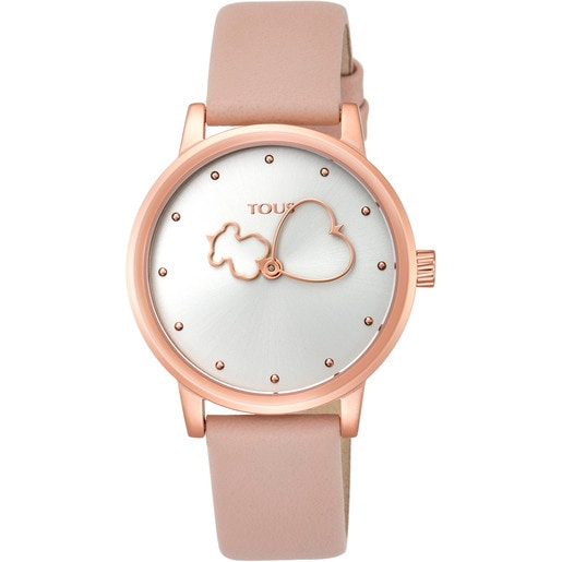 Reloj Bear Time de acero IP rosado con correa de piel nude