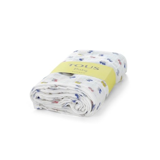 Microprint Bamboo Muslin blanket in one colour