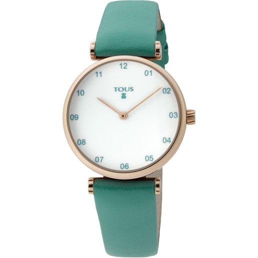 Uhr Camille aus rosa IP Stahl mit grünem Lederarmband