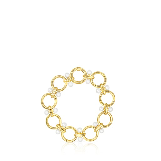 Silver Vermeil Hold rings Bracelet with Pearls