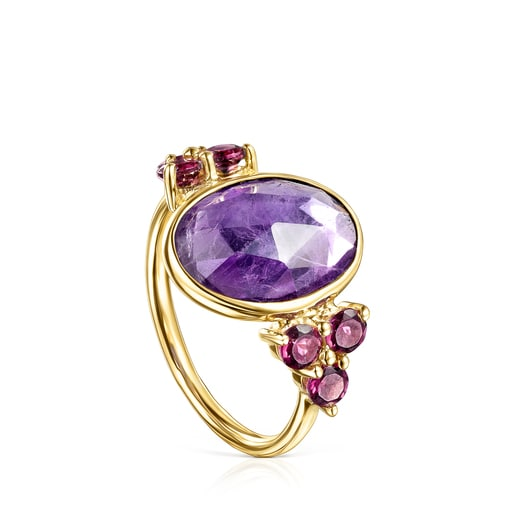 Gold Luz Ring with Amethyst and Rhodolite