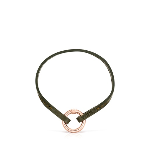 Hold Bracelet and Choker Pack in green Leather