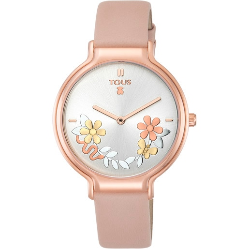 Rose IP Steel Real Mix Watch with nude Leather strap