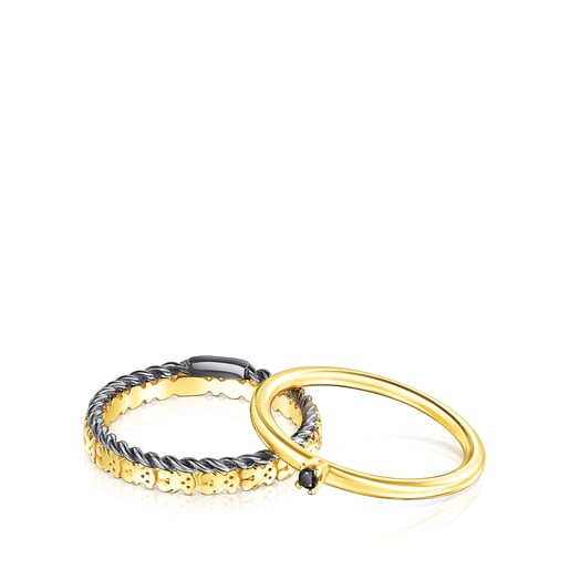 Silver Vermeil, Dark Silver and Spinel Ring Mix Rings set