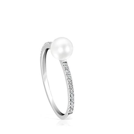 Anillo Les Classiques de Oro blanco con Diamantes y Perla