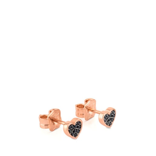 Rose Vermeil Silver TOUS Motif Earrings with Spinels and Heart motif