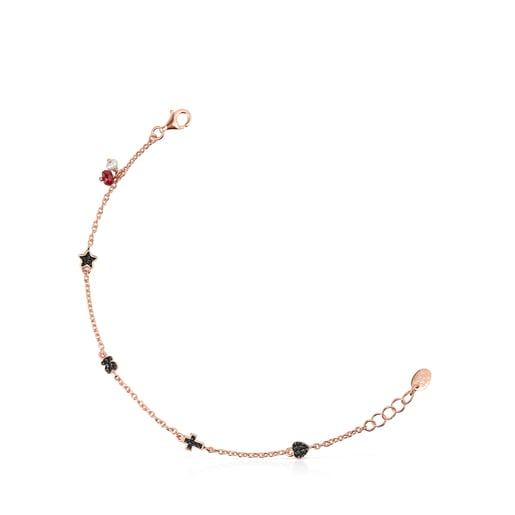 Motif Bracelet in Rose Silver Vermeil with Spinels, Ruby and Pearl